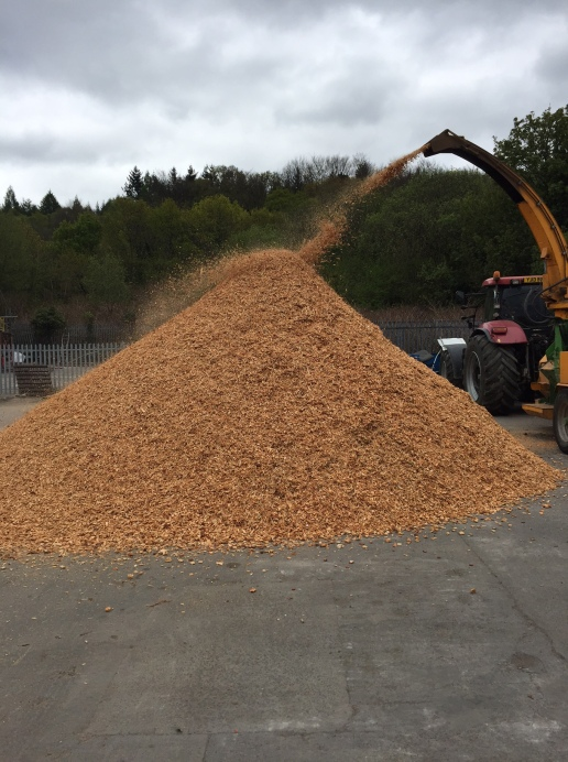 Grade A woodchip being chipped